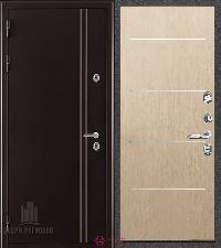 Металлическая дверь REGIDOORS Термодверь Норд коричневый Лайт Беленый дуб
