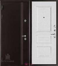 Металлическая дверь REGIDOORS Термодверь Норд коричневый Вена Ясень Жемчуг