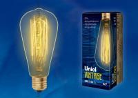 Лампочка накаливания Ретро Uniel VINTAGE 60w E27 230v 2700k 300lm IL-V-ST64-60/GOLDEN/E27 VW02