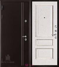 Металлическая дверь REGIDOORS Термодверь Норд коричневый Вена Белый с патиной