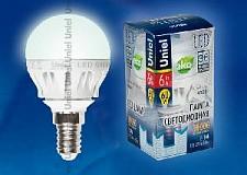 Светодиодная лампа Шар Uniel 6w E14 220v 4500k 600lm LED-G45-6W/NW/E14/FR