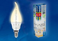 Светодиодная лампа Свеча на ветру Uniel 6w E14 220v 3000k 560lm LED-CW37-6W/WW/E14/FR