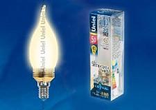 Светодиодная лампа Свеча на ветру Uniel 5w E14 220v 3000k 410lm LED-C37P-5W/WW/E14/FR